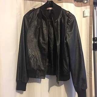 Bomber Jacket Black Leather