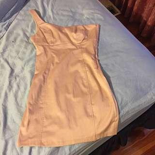Zara One Shoulder Slip Dress In Pink