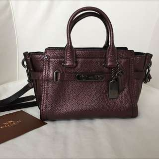 Coach Swagger 20 Metallic Pebbled Leather Bag