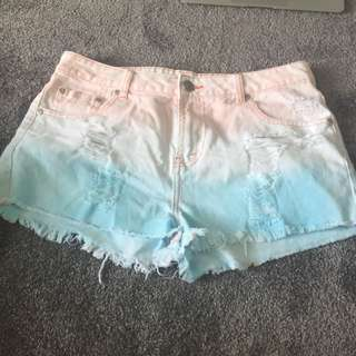 denim shorts with tie dye detail