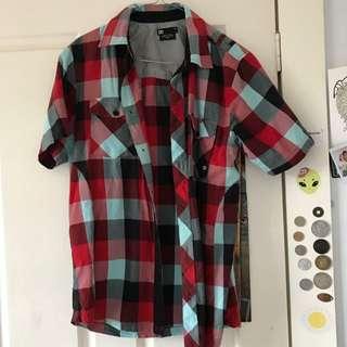 Checkered Red Black And White Shirt