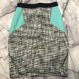 Shieke Skirt - Size 6- Tiffany Blue/tweed