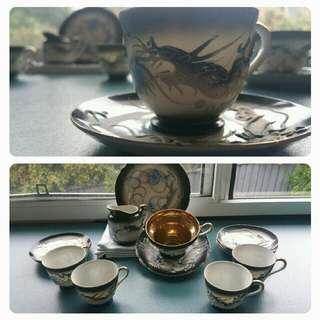 Japanese Moriage Dragonware Porcelain Tea Set
