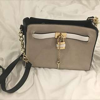 Grey And Black Purse With Gold/white Details
