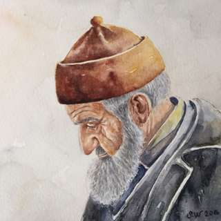 Original watercolor portrait - old man portrait - watercolor portrait