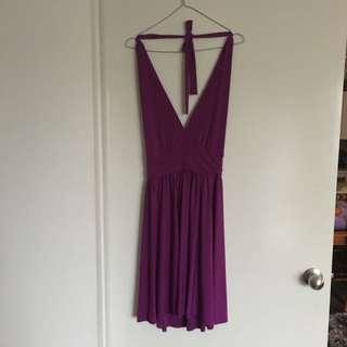 Halter Neck Purple Dress