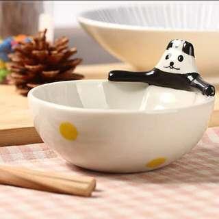 日式動物手繪碗-貓熊大俠陶瓷碗-卡通陶瓷碗