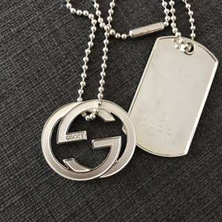 Authentic Gucci Dog Tag Necklace Sterling Silver