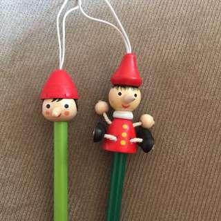 🚚 義賣-幫助毛孩子-義大利木偶娃娃鉛筆 全新一對