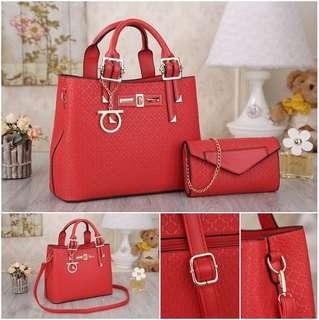 NS0456 Red Black Gold Brown - Tas Paket, Tas Kantor, Tas Pesta - Hand Bag, Tas Selempang - Tas Murah - Tas Import