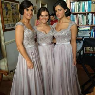 Applique Lace Beaded Top with Cap Sleeves A Line Chiffon Grey Bridesmaid Dress Full Length Long Formal Evening Gown - Made to Measure YBN001