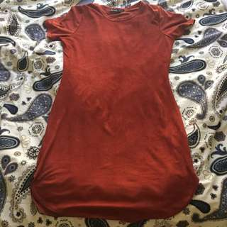 Boo Hoo Suede Copper Colour Dress Size 14