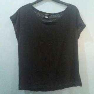 BLACK  FOREVER 21 TOP WITH SEETHROUGH  BACK