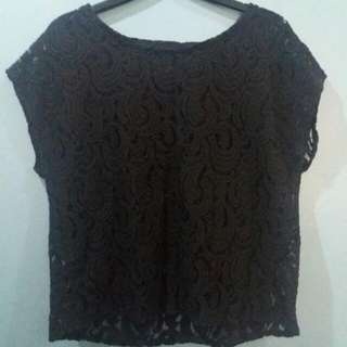 BLACK COTTON ON LACE TOP