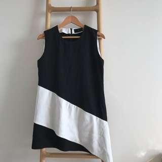 Sleeveless Unique Design Black And White Top