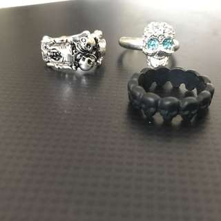 3 Skull Fashion Women's Rings