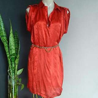 Women's Size S (8-12) 'WITCHERY' Stunning SILK Orange Cap Sleeves Long Top / Dress (accessories Not Included)
