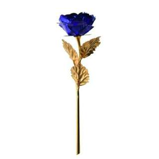 24K Gold Dipped Rose Long Stem Flower Valentine Blue