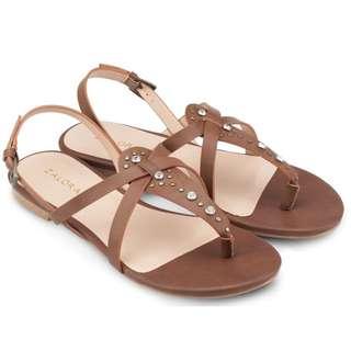 ZALORA Stud T-Strap Flat Sandals