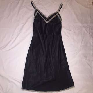Black Silk Pilgrim Dress with Lace Trim