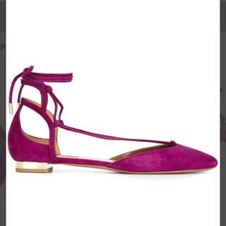f4b17d09ea9d BN Aquazzura Purple Suede Alexa Tie Flats