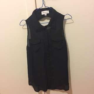Black Sleeveless Singlet Size 8