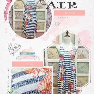 Garterized floral stripes dress