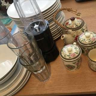 Assorted Crockery Set Incl Blender & Teapot