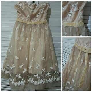 Beige Strapless Formal Short Dress