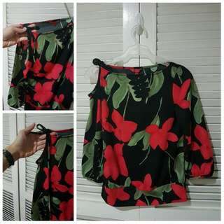 Floral Top With Shoulder Cut-out Detail