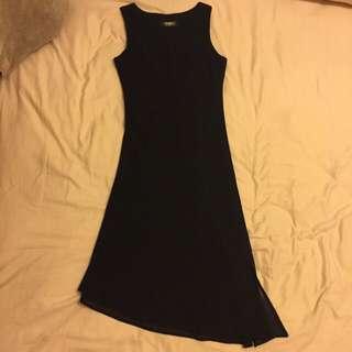 黑色開叉長洋裝