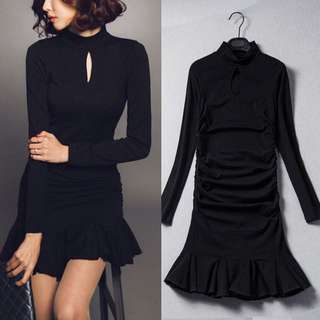 High Collar Key Hole Eyelet Ring Cut Out Black Elegant Classy Minimalist Sleek Fishtail Dress - Code H626