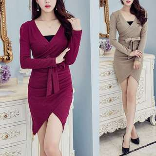Elegant Classy V Neck Ruched Bodycon Korean Style Dress ( Maroon Wine Red . Khaki ) - Code H627