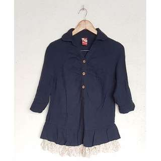 NAVY BLUE LACEY POLO
