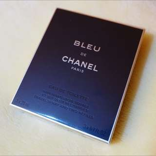 CHANEL 香奈兒 藍色男性隨身淡香水20MLX3