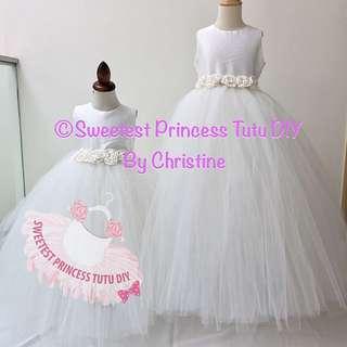 Wedding Flowers Girl Tutu Gown