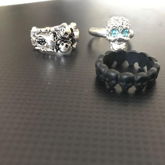 3 Skull Fashion Women's Rings