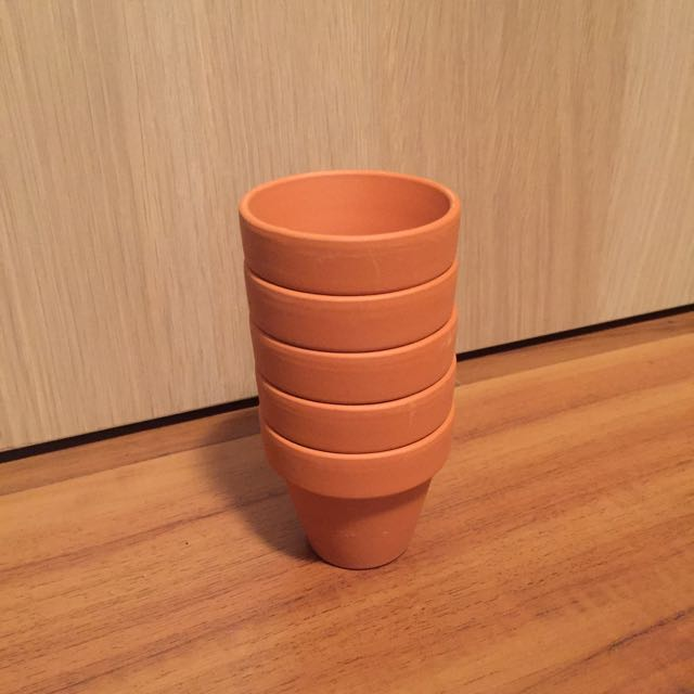 5 X Mini Terracotta Pots