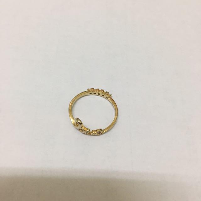 韓式金色雙面戒指
