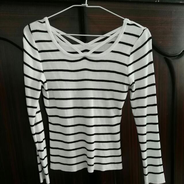 交叉橫條❣黑白條紋衣