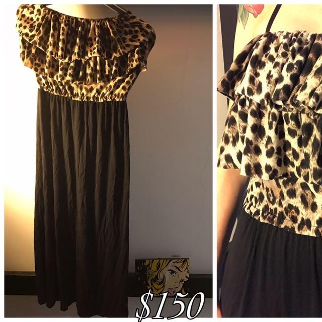 平口豹紋連身洋裝
