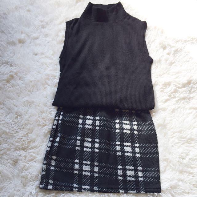 黑白格性感毛料短裙