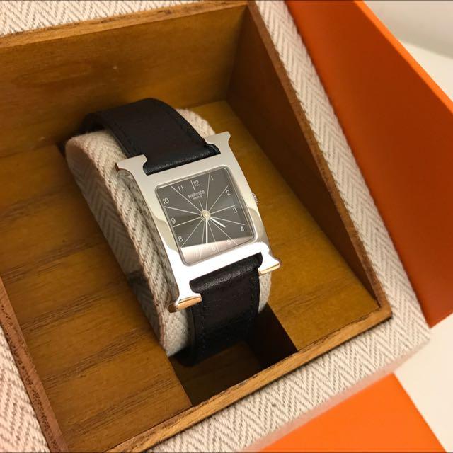 補圖區 保證正品 8.8成新 Hermes H-Hour錶❤