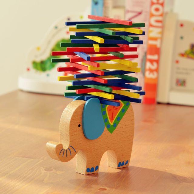 兒童益智 動物平衡木 疊疊樂 疊疊高 木製大象 學齡前教育 擺件