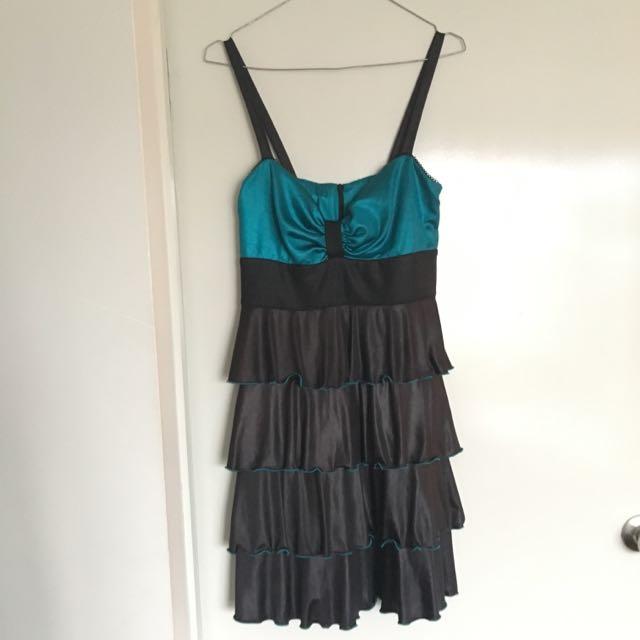 Aqua And Black Frilly Short Dress