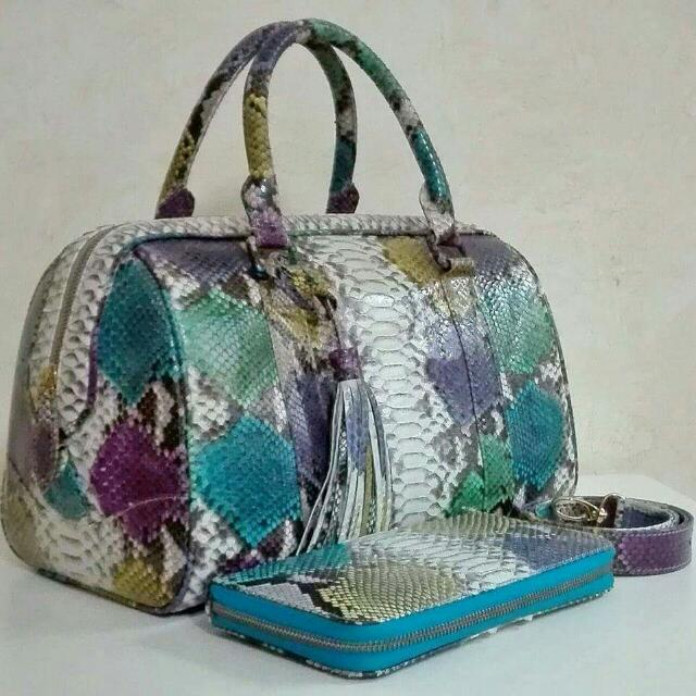 Authentic Python Skin Leather Hand Bag with Wallet - Matte Finish In Multicolor
