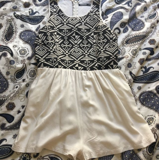 Aztec Print And White Playsuit