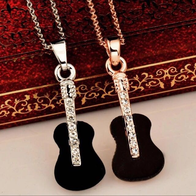 Black Music Guitar Pendant Necklace / Kalung Musik Liontin Gitar (White Gold Chain)
