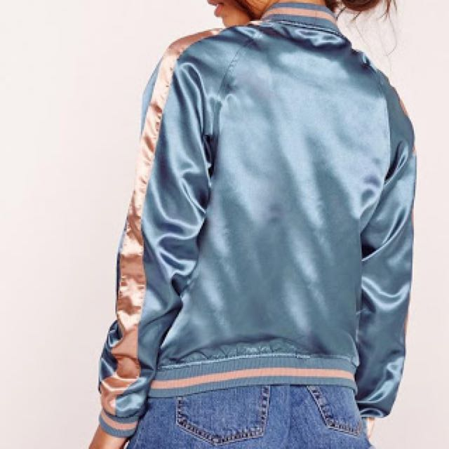 Blue And Pink Satin Bomber