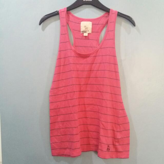 DEFRY PINK WITH STRIPES RACERBACK TOP